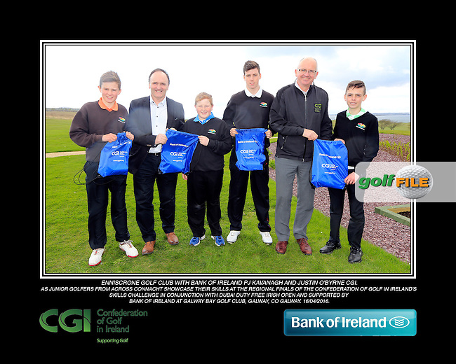 Enniscrone Boys with PJ Kavanagh from Bank of Ireland and Justin O'Byrne from CGI.<br /> Junior golfers from across connacht practicing their skills at the regional finals of the Dubai Duty Free Irish Open Skills Challenge supported by Bank of Ireland at Galway Bay golf club, Galway, Co Galway. 2/04/2016.<br /> Picture: Golffile | Fran Caffrey<br /> <br /> <br /> All photo usage must carry mandatory copyright credit (&copy; Golffile | Fran Caffrey)