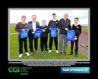 Enniscrone Boys with PJ Kavanagh from Bank of Ireland and Justin O'Byrne from CGI.<br /> Junior golfers from across connacht practicing their skills at the regional finals of the Dubai Duty Free Irish Open Skills Challenge supported by Bank of Ireland at Galway Bay golf club, Galway, Co Galway. 2/04/2016.<br /> Picture: Golffile | Fran Caffrey<br /> <br /> <br /> All photo usage must carry mandatory copyright credit (© Golffile | Fran Caffrey)
