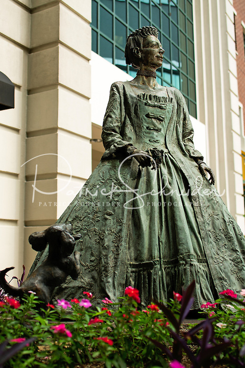 Photography of the Queen Charlotte of Mecklenbug Statue, in downtown Charlotte, North Carolina.<br />  <br /> Mecklenburg County was named in honor of Princess Charlotte of Mecklenburg-Strelitz, who was married to King George III shortly before the county was formed in 1763. The city of Charlotte was named in her honor when it was established in 1768.<br /> <br />  <br /> Charlotte Photographer -PatrickSchneiderPhoto.com