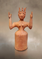 Minoan Postpalatial terracotta  goddess statue with raised arms,  Karphi Sanctuary 1200-1100 BC, Heraklion Archaeological Museum. <br /> <br /> The Goddesses are crowned with symbols of earth and sky in the shapes of snakes and birds, describing attributes of the goddess as protector of nature.