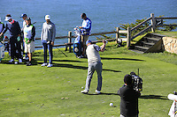 Former ice hockey star Wayne Gretzky (CAN) tees off the 7th tee at Pebble Beach Golf Links during Saturday's Round 3 of the 2017 AT&amp;T Pebble Beach Pro-Am held over 3 courses, Pebble Beach, Spyglass Hill and Monterey Penninsula Country Club, Monterey, California, USA. 11th February 2017.<br /> Picture: Eoin Clarke | Golffile<br /> <br /> <br /> All photos usage must carry mandatory copyright credit (&copy; Golffile | Eoin Clarke)