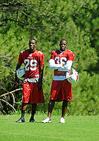 Jul 30, 2008; Flagstaff, AZ, USA; Arizona Cardinals cornerback (29) Dominique Rodgers-Cromartie and cornerback (36) Marcus Brown watch a play during training camp on the campus of Northern Arizona University. Mandatory Credit: Mark J. Rebilas-