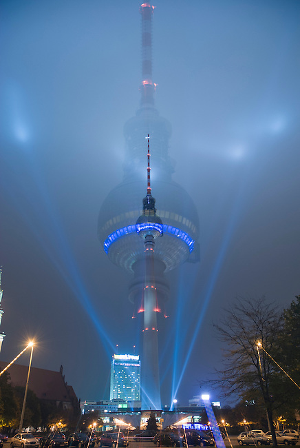 All effects done in camera, no photoshop work, A blur shot of the TV tower Berlin shot at hte festival of light on a misty night to show the beams of light better
