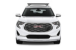 Car photography straight front view of a 2018 GMC Terrain Denali base 5 Door SUV