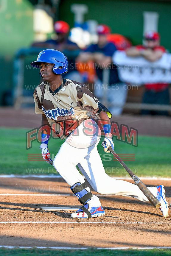 Errol Robinson (9) of the Ogden Raptors at bat against the Orem Owlz in Pioneer League action at Lindquist Field on July 29, 2016 in Ogden, Utah. Orem defeated Ogden 8-5. (Stephen Smith/Four Seam Images)