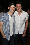 "Corey Cott and Casey Cott backstage at Broadway's ""Bandstand"" at the Bernard Jacobs Theate on May 19, 2017 in New York City."