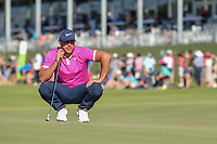 Brooks Koepka (USA) lines up his putt on 18 during round 4 of the AT&T Byron Nelson, Trinity Forest Golf Club, Dallas, Texas, USA. 5/12/2019.<br /> Picture: Golffile   Ken Murray<br /> <br /> <br /> All photo usage must carry mandatory copyright credit (© Golffile   Ken Murray)