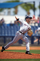 Lakeland Flying Tigers relief pitcher Mark Ecker (28) delivers a pitch during a game against the Charlotte Stone Crabs on April 16, 2017 at Charlotte Sports Park in Port Charlotte, Florida.  Lakeland defeated Charlotte 4-2.  (Mike Janes/Four Seam Images)