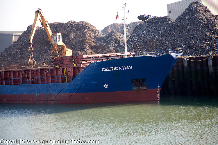 Scrap metal ship, Newhaven, East Sussex, England