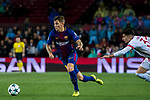 Lucas Digne (l) of FC Barcelona is followed by Thanasis Androutsos of Olympiacos FC during the UEFA Champions League 2017-18 match between FC Barcelona and Olympiacos FC at Camp Nou on 18 October 2017 in Barcelona, Spain. Photo by Vicens Gimenez / Power Sport Images