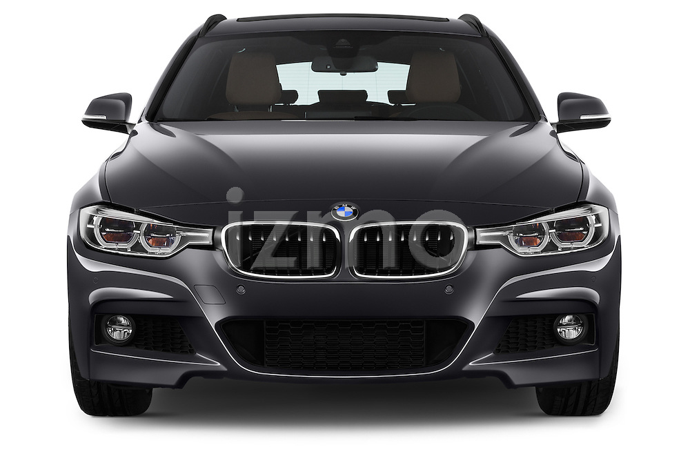 Car photography straight front view of a 2016 BMW 3 Series M Sport 5 Door Wagon Front View
