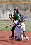 April 20, 2012:   University of Hawai'i Warrior second baseman Dara Pagaduan throws to first as Nevada Wolf Pack's Sara Parsons slides during their NCAA softball game played at Christina M. Hixson Softball Park on Friday in Reno, Nevada.