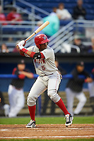 Auburn Doubledays third baseman Kelvin Gutierrez (5) at bat during a game against the Batavia Muckdogs on July 8, 2015 at Dwyer Stadium in Batavia, New York.  Batavia defeated Auburn 4-1.  (Mike Janes/Four Seam Images)