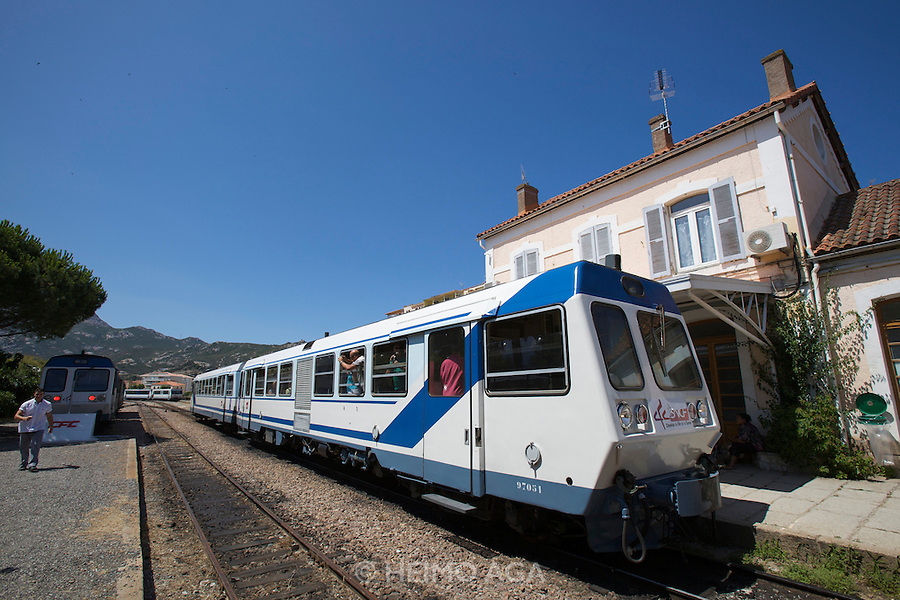 "The famous ""Micheline"" train at Calvi station."