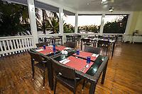 Honduras, Roatan Island, Fantasy Island Resort, Caribbean. Outdoor dining room at the hotel.