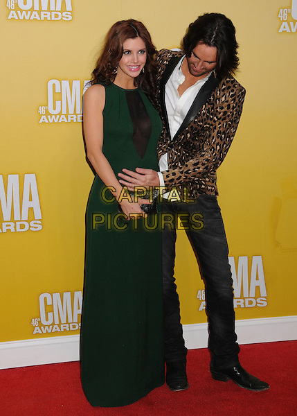 Jake Owen & Lacey Buchanan Owen.The 46th Annual CMA Awards, Country Music's Biggest Night, held at Bridgestone Arena, Nashville, Tennessee, USA, .1st November 2012..arrivals cmas music full length husband wife couple leopard print jacket blazer animal jeans green dress pregnant long maxi maternity .CAP/ADM/BP.©Byron Purvis/AdMedia/Capital Pictures.