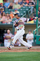 Rochester Red Wings shortstop Jorge Polanco (12) follows through on a swing during a game against the Lehigh Valley IronPigs on June 29, 2018 at Frontier Field in Rochester, New York.  Lehigh Valley defeated Rochester 2-1.  (Mike Janes/Four Seam Images)