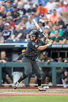 Vanderbilt Commodores outfielder Stephen Scott (19) at bat against the Michigan Wolverines during Game 2 of the NCAA College World Series Finals on June 25, 2019 at TD Ameritrade Park in Omaha, Nebraska. Vanderbilt defeated Michigan 4-1. (Andrew Woolley/Four Seam Images)