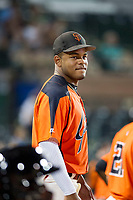 AZL Giants Heliot Ramos (31) watches the action on the field during a game against the AZL Cubs on September 5, 2017 at Scottsdale Stadium in Scottsdale, Arizona. AZL Cubs defeated the AZL Giants 10-4 to take a 1-0 lead in the Arizona League Championship Series. (Zachary Lucy/Four Seam Images)
