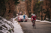 Nicolas Edet (FRA/Cofidis) charges up the last climb where snow is still present<br /> <br /> 76th Paris-Nice 2018<br /> stage 5: Salon-de-Provence &gt; Sisteron (165km)
