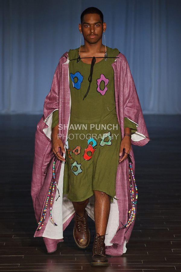 Student designer walks runway in their outfit from the City As School Spring 2017 collection for Fashion Week Brooklyn Spring Summer 2017, on October 7th 2016 at Brooklyn Expo Center.