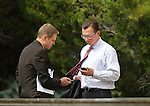 Nevada Gov. Brian Sandoval's Deputy Chief of Staff Chris Nielsen, left, talks with Sen. Ben Kieckhefer, R-Reno, outside the Legislative Building in Carson City, Nev., on Sunday, May 31, 2015.  <br /> Photo by Cathleen Allison