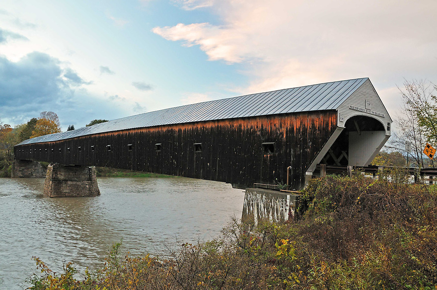 The long, strong Cornish-Windsor Covered Bridge spans the Connecticut River.