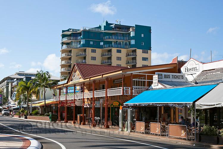View along the Esplanade tourist strip.  Cairns, Queensland, Australia