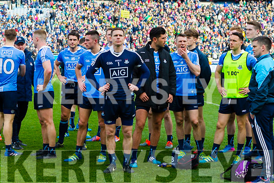 Dublin players after losing to Kerry in the National League Final in Croke Park on Sunday.