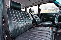 The MB tex front seats of the Mercedes W123 series 230TE estate version, outside the Penderyn Whisky Distillery in south Wales, UK. Tuesday 19 June 2018