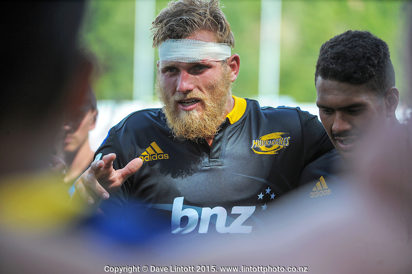 Hurricanes captain Brad Shields talks to his teammates in a huddle during the Super Rugby match between the Hurricanes and Crusaders at Eketahuna, New Zealand on Saturday, 31 January 2015. Photo: Dave Lintott / lintottphoto.co.nz