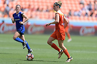 Houston, TX - Saturday May 27, 2017: Morgan Brian looks to pass the ball during a regular season National Women's Soccer League (NWSL) match between the Houston Dash and the Seattle Reign FC at BBVA Compass Stadium.