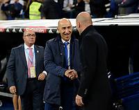 Real Madrid's coach Zinedine Zidane (r) and UD Las Palmas' coach Pako Ayestaran (l) during La Liga match. November 5,2017. (ALTERPHOTOS/Inma Garcia)