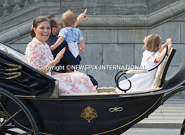 14.07.2017; Stockholm Sweden: CROWN PRINCESS VICTORIA, CROWN PRINCE DANIEL, PRINCESS ESTELLE AND PRINCE OSCAR <br /> take a carriage ride around the city of Stockholm on the occasion of Crown Princess Victoria&rsquo;s 40th Birthday.<br /> King Carl Gustf, Queen Silvia, Princess Madeleine, Christopher, Prince Carl Philip and Princess Sofia cheered the Crown Princess as the carriage passed the Royal Palace balcony.<br /> Mandatory Photo Credit: &copy;Francis Dias/NEWSPIX INTERNATIONAL<br /> <br /> IMMEDIATE CONFIRMATION OF USAGE REQUIRED:<br /> Newspix International, 31 Chinnery Hill, Bishop's Stortford, ENGLAND CM23 3PS<br /> Tel:+441279 324672  ; Fax: +441279656877<br /> Mobile:  07775681153<br /> e-mail: info@newspixinternational.co.uk<br /> Usage Implies Acceptance of Our Terms &amp; Conditions<br /> Please refer to usage terms. All Fees Payable To Newspix International