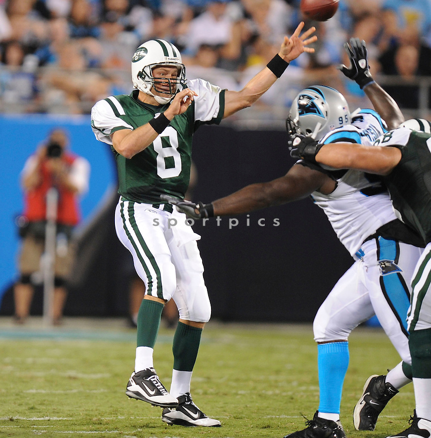 MARK BRUNELL, of the New York Jets in action during the Jets game against the Carolina Panthers  at Bank of America Stadium in Charlotte, N.C.  on August 21, 2010.  The Jets beat the Panthters 9-3 in the second week of preseason games...