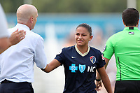 Cary, North Carolina  - Sunday May 21, 2017: Debinha and Paul Riley during a regular season National Women's Soccer League (NWSL) match between the North Carolina Courage and the Chicago Red Stars at Sahlen's Stadium at WakeMed Soccer Park. Chicago won the game 3-1.