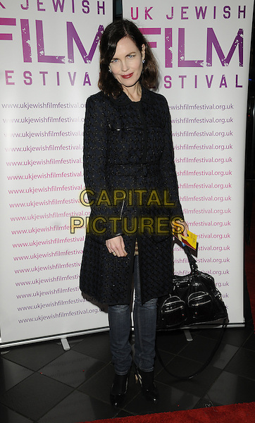 "ELIZABETH McGOVERN .UK Jewish film Festival opening Gala premiere of ""The Debt"", Vue West End cinema, Leicester Square, London, England, UK. November 4th 2010..shoes full length blue black patterned coat jeans bag houndstooth .CAP/CAN.©Can Nguyen/Capital Pictures."