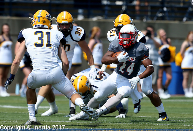 SIOUX FALLS, SD - SEPTEMBER 2: Herman Gray #24 from the University of Minnesota Morehead looks to make a move past Trevor Naasz #31 from Augustana in the first half of their game Saturday afternoon at Augustana University. (Photo by Dave Eggen/Inertia)