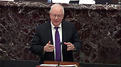 In this image from United States Senate television, Ken Starr, counsel to the President makes his presentation during the impeachment trial of US President Donald J. Trump in the US Senate in the US Capitol in Washington, DC on Monday, January 27, 2020.<br /> Mandatory Credit: US Senate Television via CNP