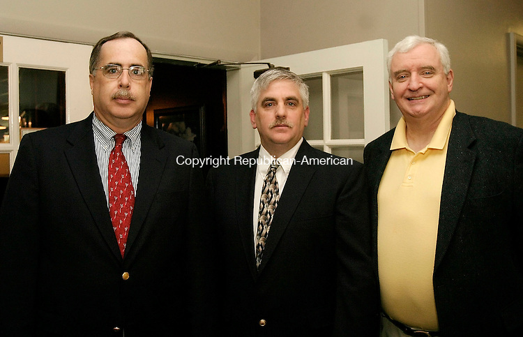WATERBURY, CT - 01 MARCH 2005 - 050105JS13 Board member Mark Wrenn, left, scholarship chairman Joe Eltman and club treasurer Tom Galvin at the Olympian Club of Greater Waterbury's 35th annual scholarship breakfast held Sunday at The Hills Restaurant at Western Hills Golf Course in Waterbury. The club has given $500,000 in scholraships in the last 35 years to graduates of Greater Waterbury.  <br /> --Jim Shannon Photo --Mark Wrenn; Joe Eltman, Tom Galvin are CQ