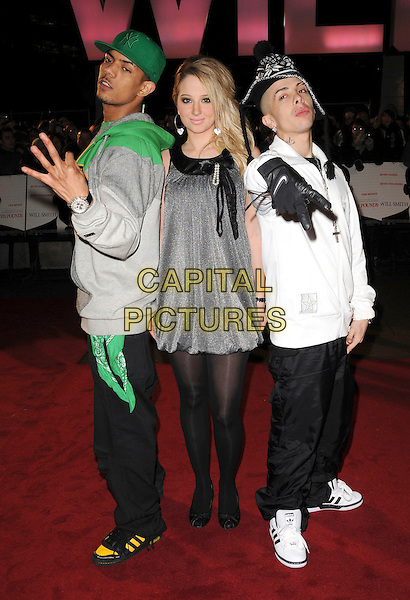 "N-DUBZ  - DAPPY, TULISA.Attending the UK Film Premiere of ""Seven Pounds"" at the Empire Cinema, Leicester Square, London, England, January 14th 2009..full length N Dubz green cap hat grey gray silver dress black tights adidas trainers white shirt hand gesture .CAP/CAS.©Bob Cass/Capital Pictures"