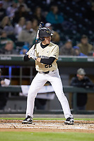Chase Mascolo (28) of the Wake Forest Demon Deacons at bat against the Charlotte 49ers at BB&T BallPark on March 13, 2018 in Charlotte, North Carolina.  The 49ers defeated the Demon Deacons 13-1.  (Brian Westerholt/Four Seam Images)