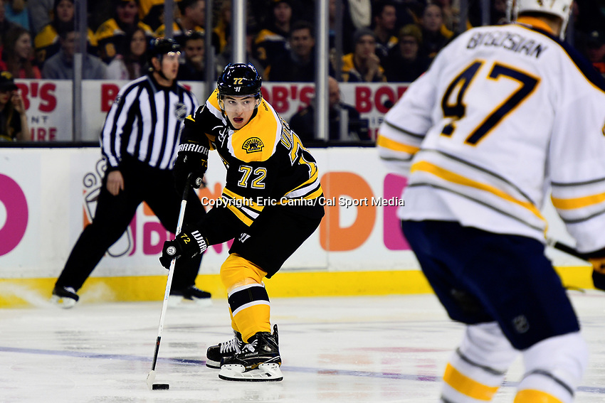 Saturday, December 31, 2016: Boston Bruins center Frank Vatrano (72) in game action during the National Hockey League game between the Buffalo Sabres and the Boston Bruins held at TD Garden, in Boston, Mass. Boston defeats Buffalo 3-1.  Eric Canha/CSM