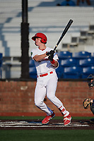 Johnson City Cardinals first baseman Kevin Woodall (34) follows through on a swing during a game against the Danville Braves on July 29, 2018 at TVA Credit Union Ballpark in Johnson City, Tennessee.  Johnson City defeated Danville 8-1.  (Mike Janes/Four Seam Images)
