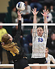 Maggie Swegler #13 of Long Beach defends against a spike attempt by Abby Dummler #14 of Commack during the girls volleyball Class AA Long Island Championship at Farmingdale State College on Sunday, Nov. 11, 2018.