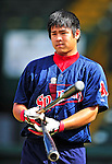 24 July 2010: Lowell Spinners catcher Chia-Chu Chen awaits his turn in the batting cage prior to a game against the Vermont Lake Monsters at Centennial Field in Burlington, Vermont. The Spinners defeated the Lake Monsters 11-5 in NY Penn League action. Mandatory Credit: Ed Wolfstein Photo