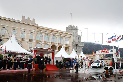 19.01.2014. Monte Carlo, Monaco. The WRC Monte Carlo rally conclusion.  Winning drivers S. OGIER and INGRASSIA , B. BOUFFIER and PANSERI and K. MEEKE (IRL) NAGLE  on the podium in front of the royal palace
