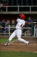 Orem Owlz center fielder D'Shawn Knowles (4) follows through on his swing during a Pioneer League game against the Ogden Raptors at Home of the OWLZ on August 24, 2018 in Orem, Utah. The Ogden Raptors defeated the Orem Owlz by a score of 13-5. (Zachary Lucy/Four Seam Images)