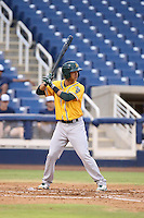 Carlos Hiciano (3) of the AZL Athletics bats during a game against the AZL Brewers at Maryvale Baseball Park on June 30, 2015 in Phoenix, Arizona. Brewers defeated Athletics, 4-2. (Larry Goren/Four Seam Images)