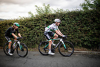 Sam Bennett (IRL/Bora-Hansgrohe) & Shane Archbold (NZL/Bora-Hansgrohe) up the brutal (last climb) Alto de Arraiz (up to 25% gradients!), 7km from the finish <br /> <br /> Stage 12: Circuito de Navarra to Bilbao (171km)<br /> La Vuelta 2019<br /> <br /> ©kramon